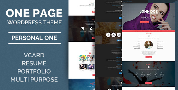 ThemeForest Personal One OnePage VCard Wordpress Theme 7882033