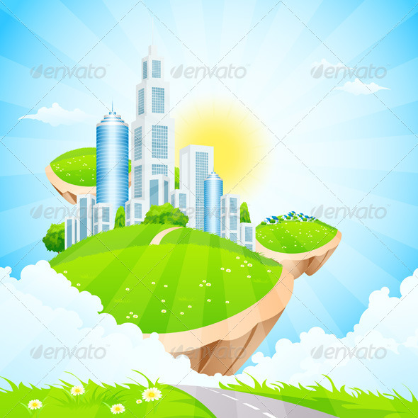 GraphicRiver Business City on Island 7882306