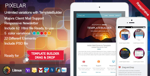 Pixelar - Responsive Email + TemplateBuilder - Newsletters Email Templates