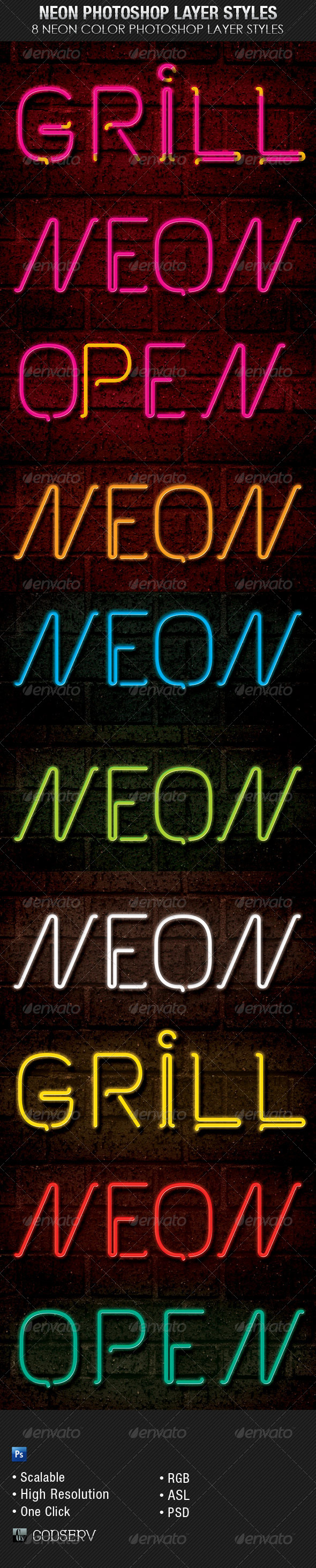 GraphicRiver Neon Photoshop Layer Styles 7883066