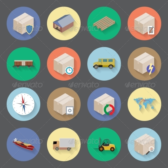 GraphicRiver Transportation and Delivery Flat Icons Set 7883732