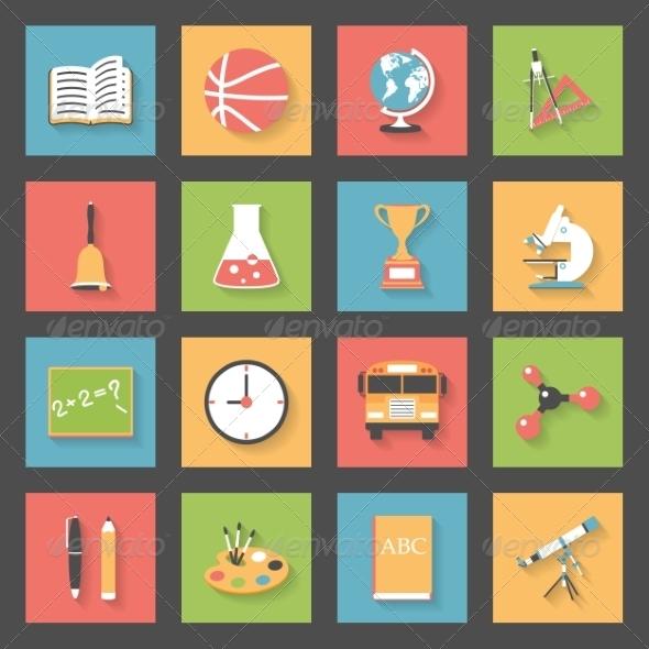 GraphicRiver School Flat Icons Set 7883735