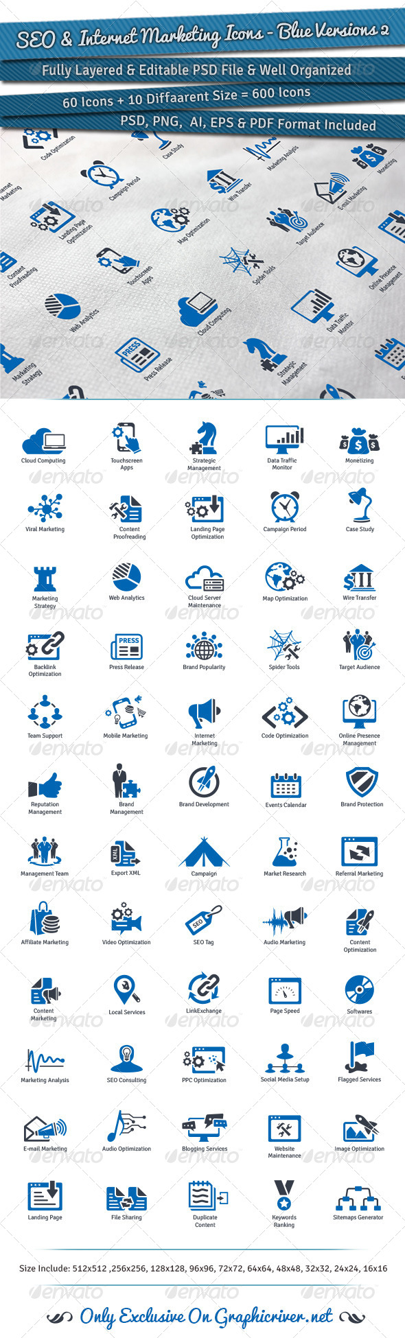 GraphicRiver SEO & Internet Marketing Icons Blue Versions 2 7883774