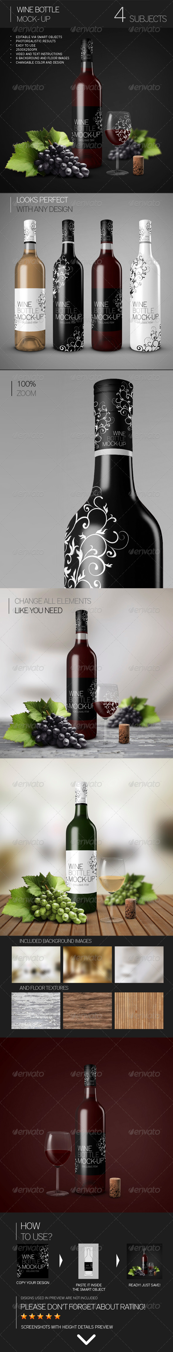 GraphicRiver Wine Bottle Mock-Up 7883779