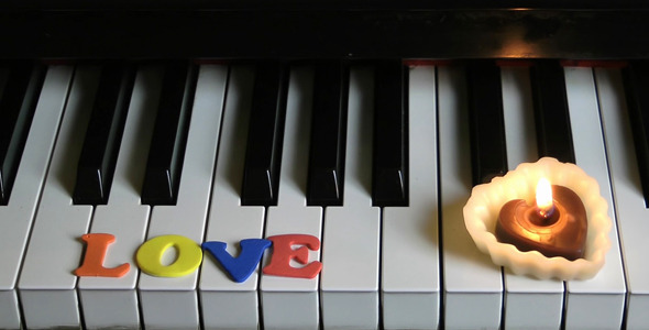 Love on Piano Keys and Candle Light 3