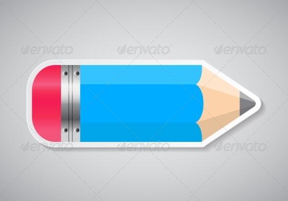 GraphicRiver Pencil Sticker Label Illustration 7885076