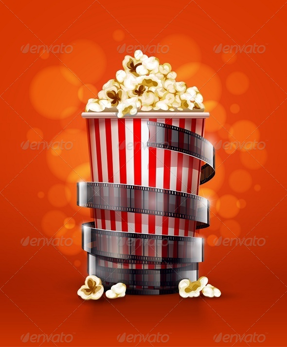 GraphicRiver Cinema Concept with Paper Bucket with Popcorn 7885303