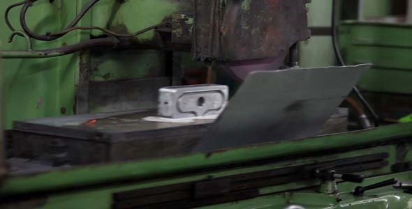 Lathe Factory Machine Working On Steel