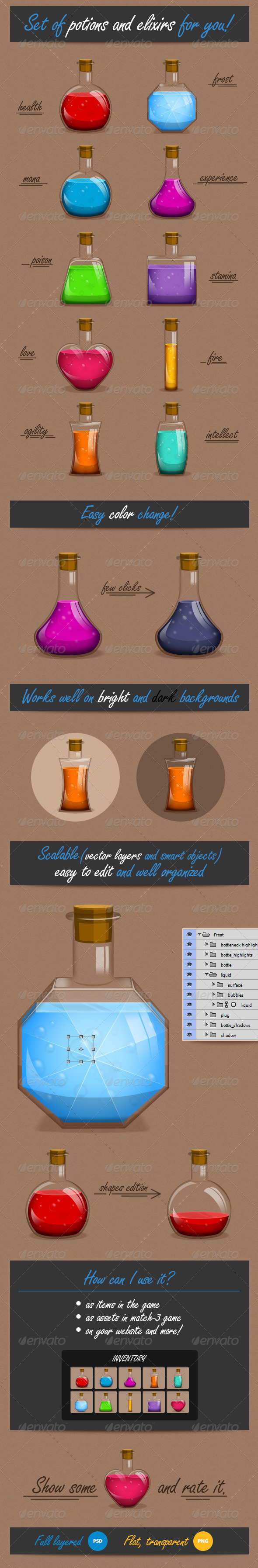 GraphicRiver Set of Elixirs and Potions 7885438
