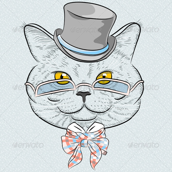 GraphicRiver Vector Closeup Portrait of the British Cat Hipster 7885556