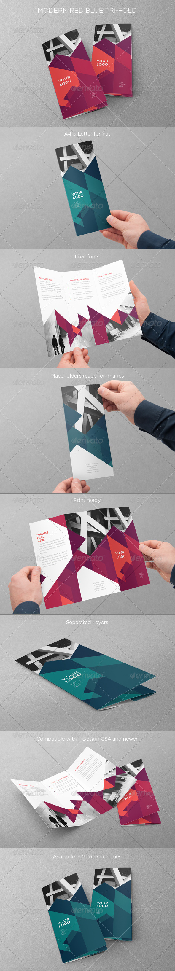 GraphicRiver Modern Red Blue Trifold 7886017