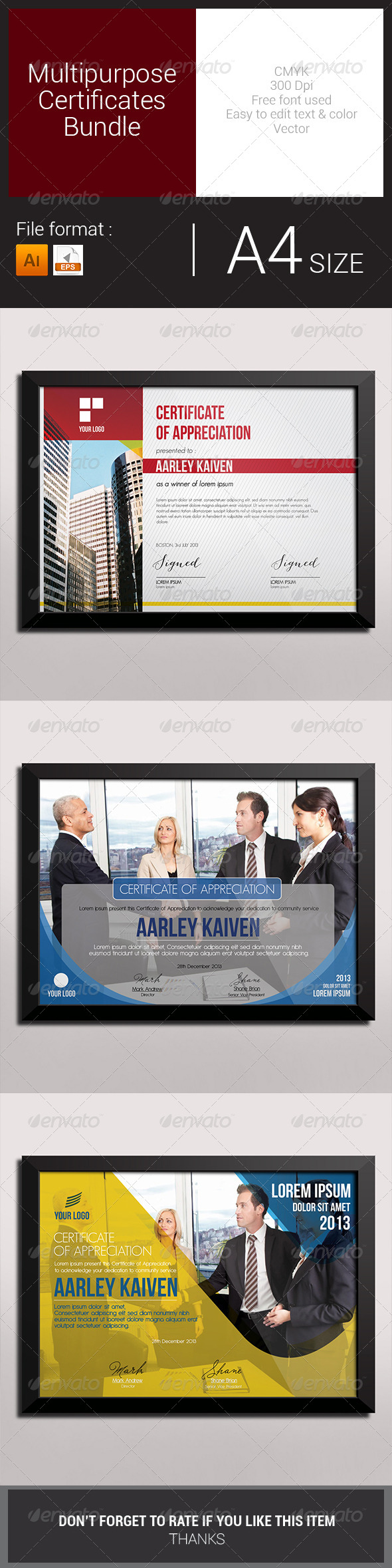 GraphicRiver Multipurpose Certificates Bundle 7886162
