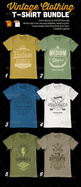 GraphicRiver Vintage Clothing T-Shirt Bundle 7851876
