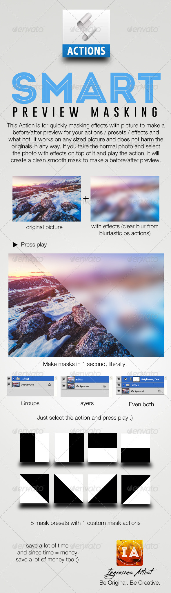 GraphicRiver Smart Preview Masking Photoshop Action 7886662