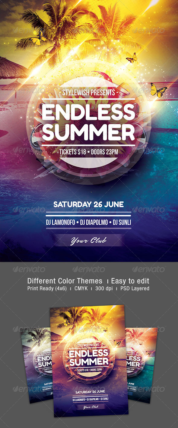 Endless Summer Flyer - Clubs & Parties Events