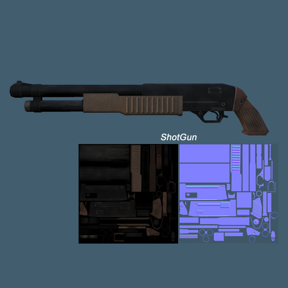 3DOcean Low Poly ShotGun 7887309