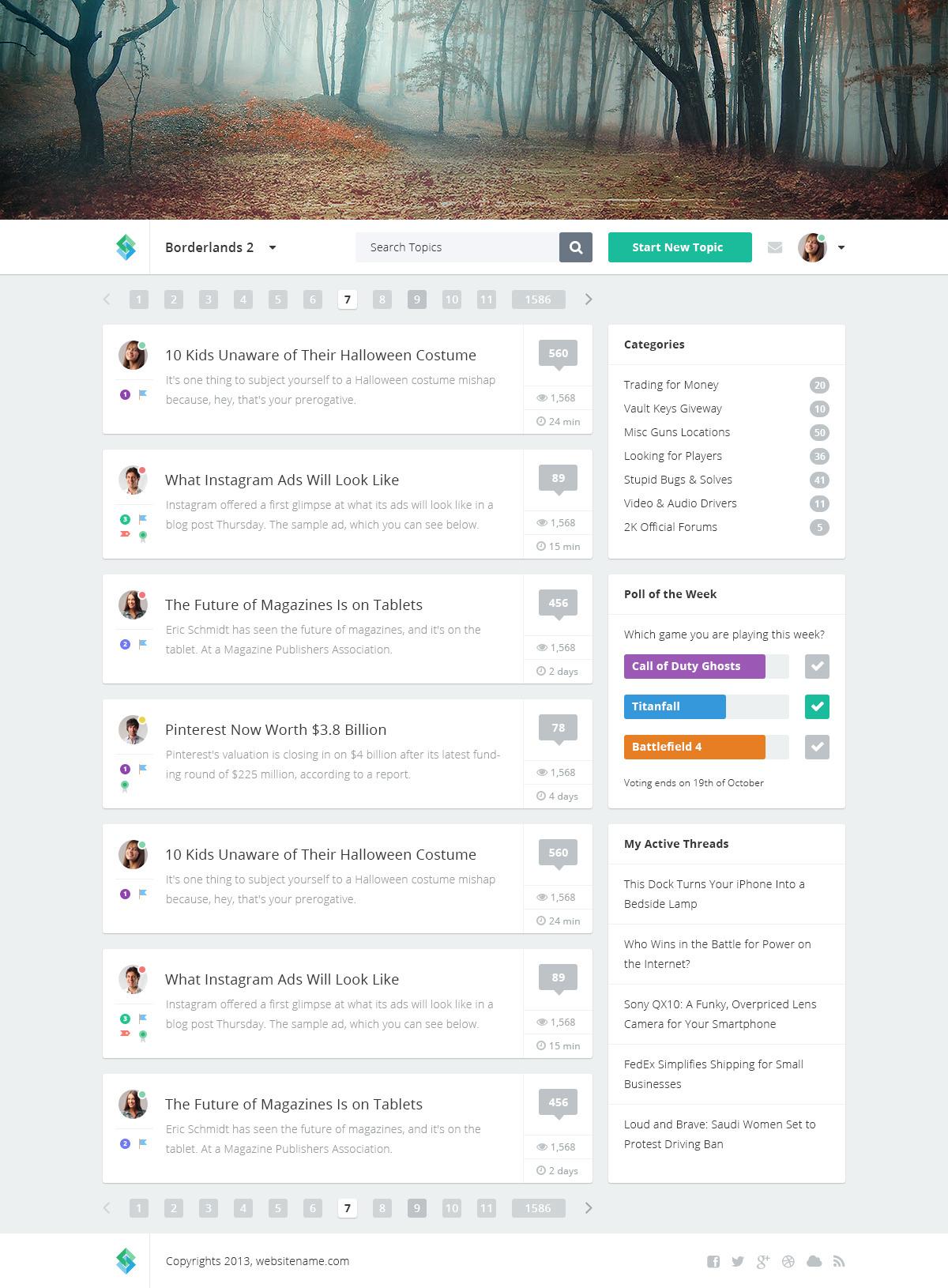 Forum Website PSD Template