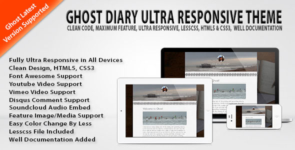 Ghost Diary Ultra Responsive Theme - Ghost Themes Blogging