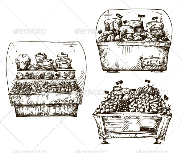 GraphicRiver Counters with Bakery and Foods 7887795