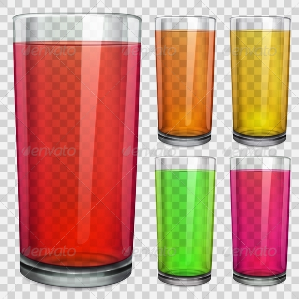 GraphicRiver Transparent Glasses with Transparent Colored Juice 7888030