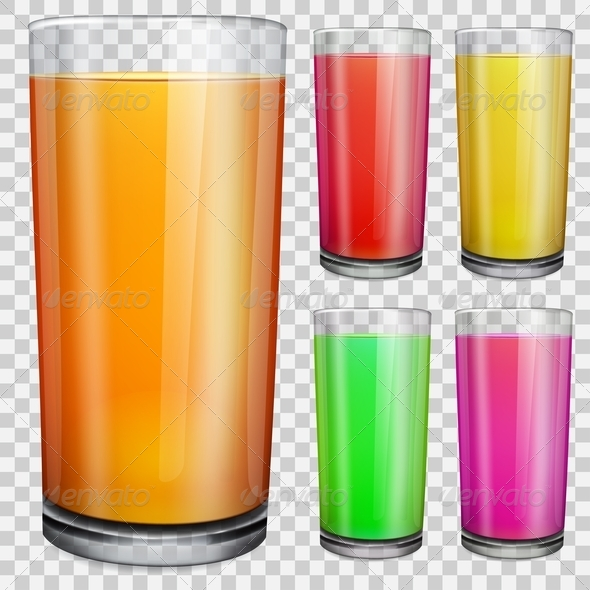 GraphicRiver Transparent Glasses with Opaque Colored Juice 7888040