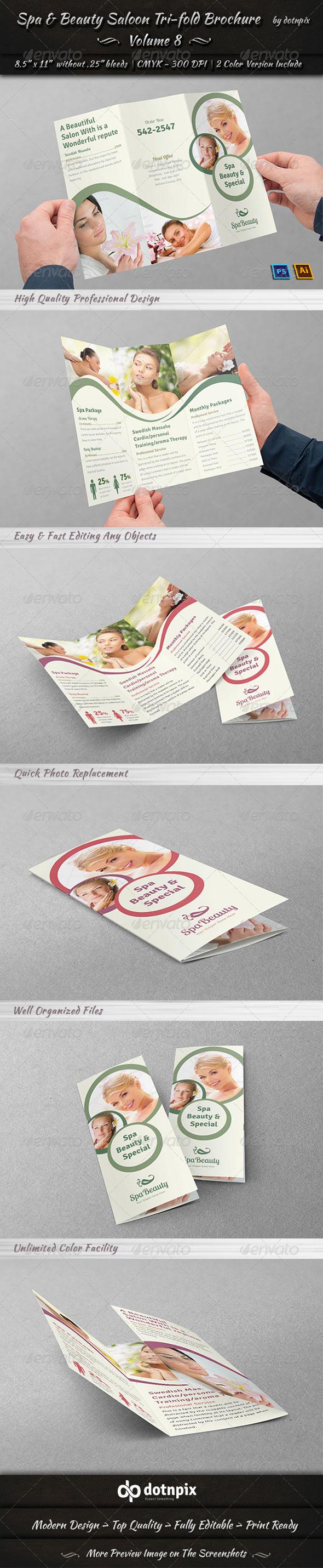 GraphicRiver Spa & Beauty Saloon Tri-fold Brochure Volume 8 7888058