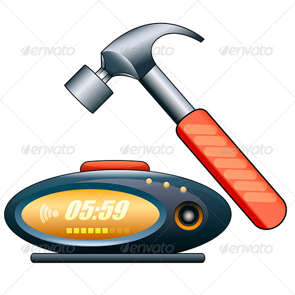 GraphicRiver Alarm Clock and Hammer 7888372
