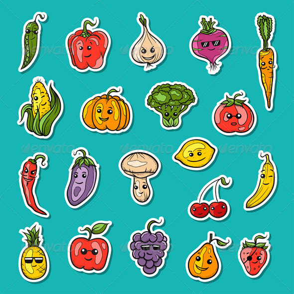 GraphicRiver Fruits and Vegetables Icons 7888459