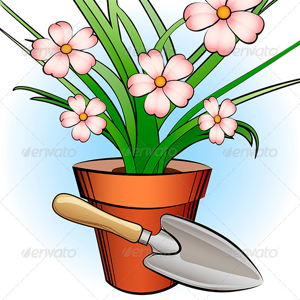 GraphicRiver Garden Shovel and Window Plant 7888615