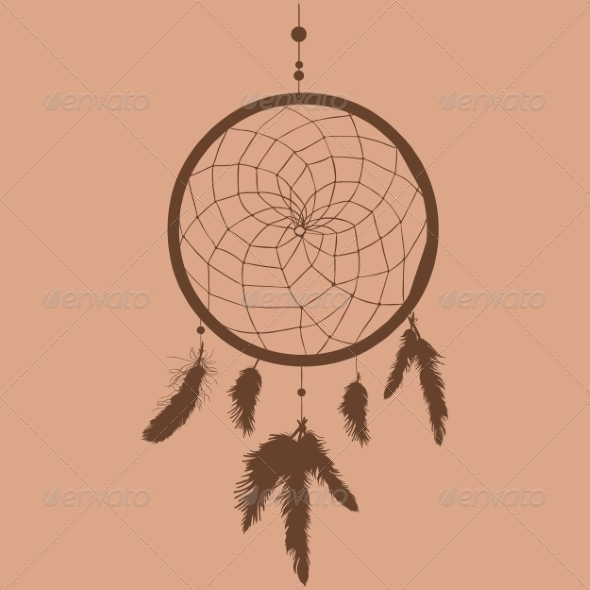 GraphicRiver Silhouette of Indian Mascot Dream Catcher 7888636