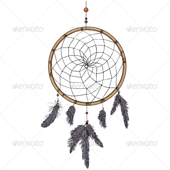GraphicRiver Cartoon Indian Mascot Dream Catcher 7888665