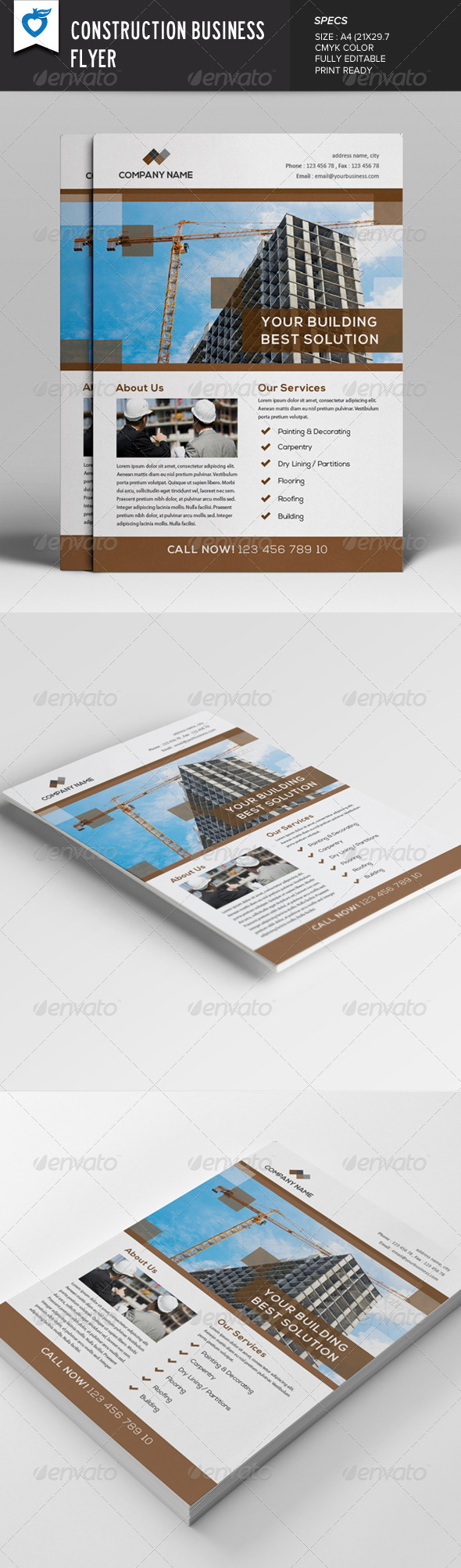 GraphicRiver Construction Business Flyer 7888773