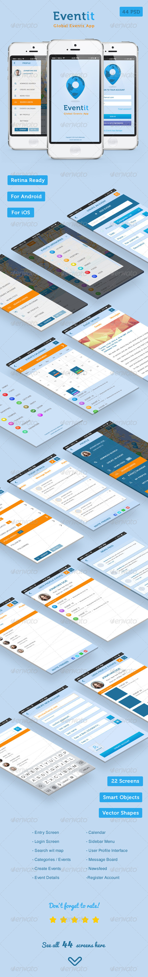GraphicRiver Eventit Mobile Application UI 7889493