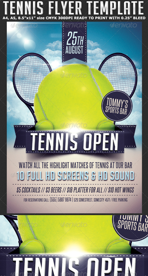 GraphicRiver Tennis Flyer Template 7890022