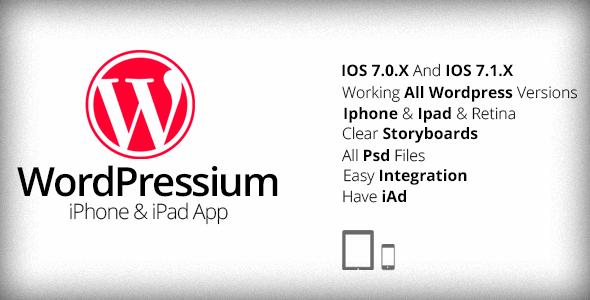 CodeCanyon WordPressium iPhone & iPad App 7890296