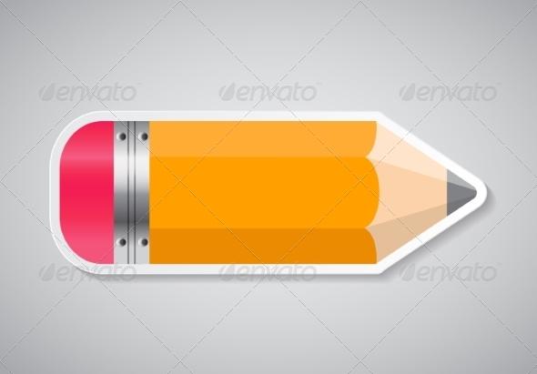 GraphicRiver Pencil Sticker Label Vector Illustration 7890491
