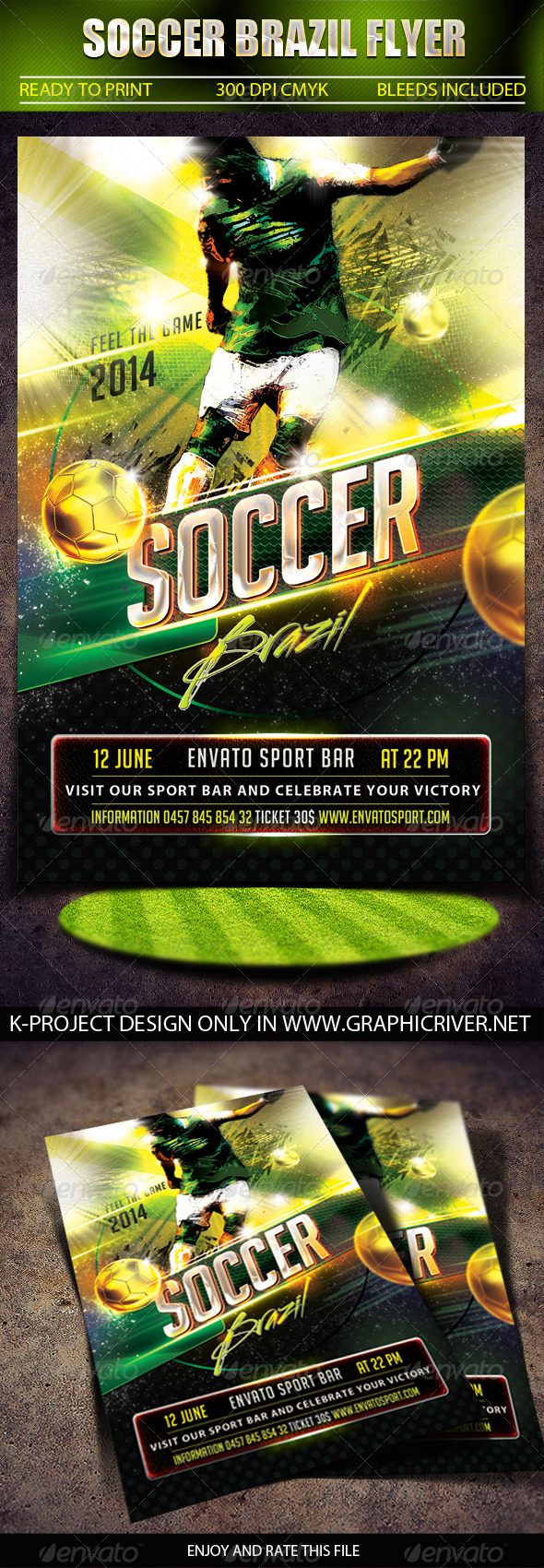 GraphicRiver Soccer Brazil Flyer 7890606