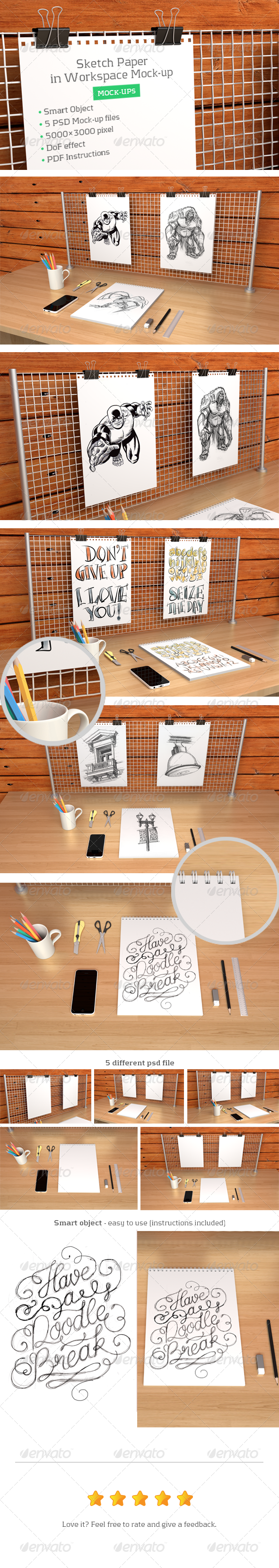 GraphicRiver Sketch Paper in Workspace Mock-up 7890845