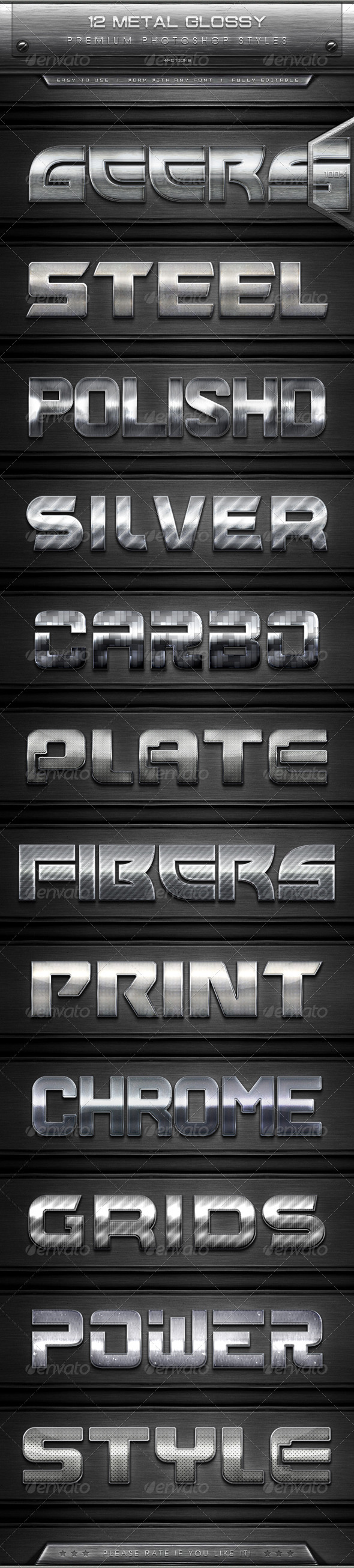 GraphicRiver 12 Metal Glossy Text Effect Styles & Actions 7891191