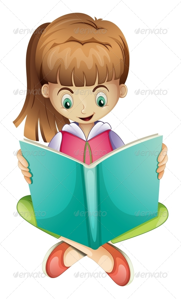 GraphicRiver Young girl reading a book 7891646
