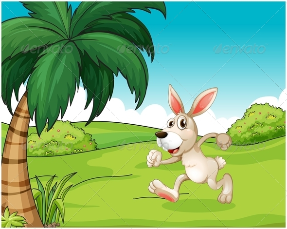 GraphicRiver Bunny running on the hilltop 7891649