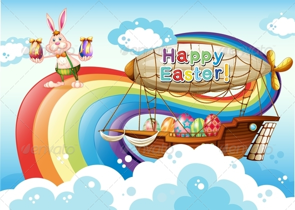GraphicRiver Happy Easter with eggs bunny and Airship 7891652