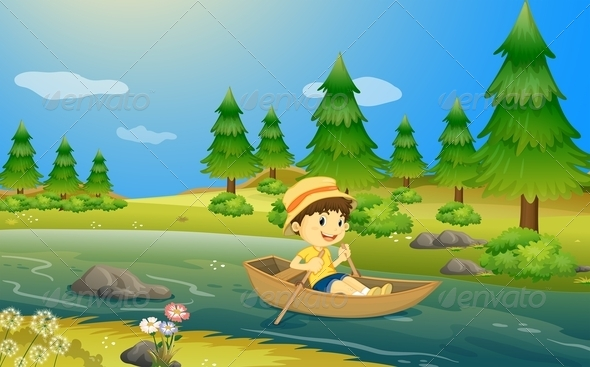 GraphicRiver Boy Rowning a Boat 7891657