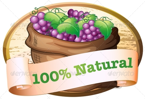 GraphicRiver Fresh Grapes with Natural Label 7891659