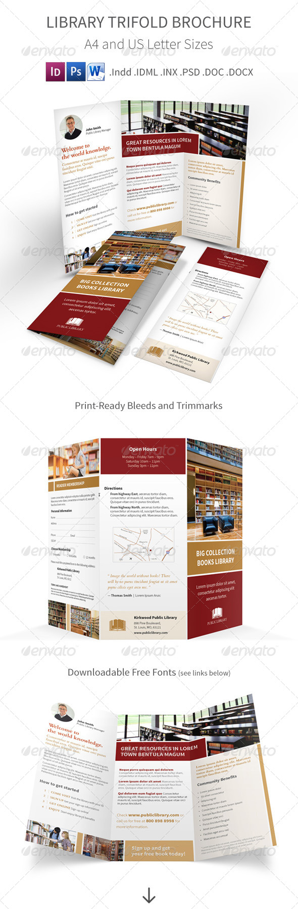 GraphicRiver Library Trifold Brochure 7891668