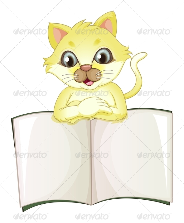 GraphicRiver Yellow cat with empty book 7891673