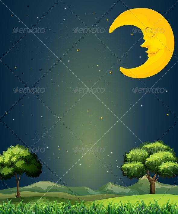GraphicRiver Landscape with sleeping moon 7891709