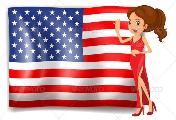 USA Flag and beauty queen