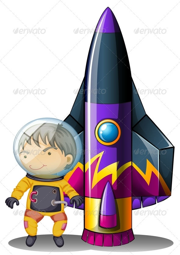 Young astronaut with rocket