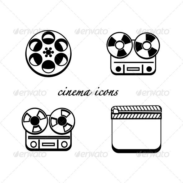 GraphicRiver Black and White Minimalistic Cinema Icons 7891881
